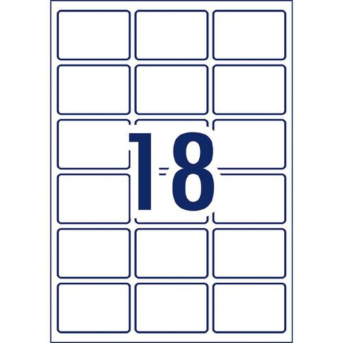 Avery Rectangular Glossy Labels 10 Pack 18 Per Sheet White