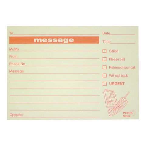 Post-It Message Notes Pm03 74mm x 104mm Yellow