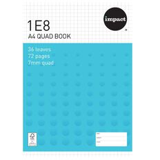Impact Exercise Book 1E8 7mm Quad 36 Leaf Blue