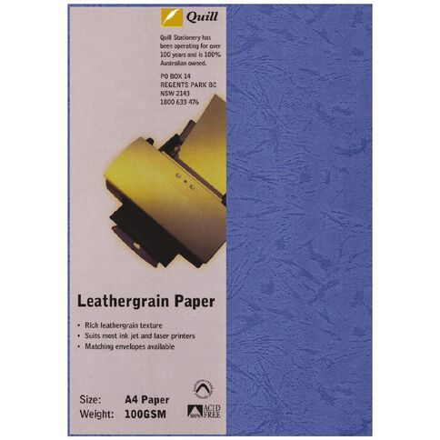 Quill Leathergrain 100gsm 25 Pack Blue A4