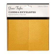 Grace Taylor Cards & Envelope Gatefold 134 x 134 6 Pack Gold