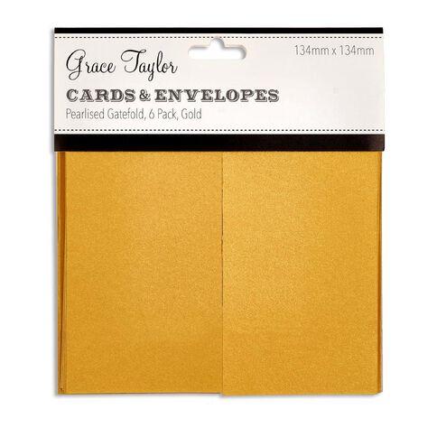 Grace Taylor Cards & Envelope Gatefold 134 x 134 6 Pack Gold