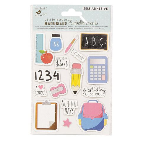 Little Birdie I Love School Sticker Embellishment 16 piece
