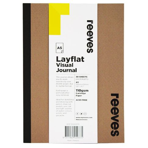 Reeves Visual Journal Layflat Kraft A5 30 Sheets Brown