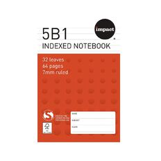 Impact Note Book 5B1 Index 7mm 32 Leaf Red