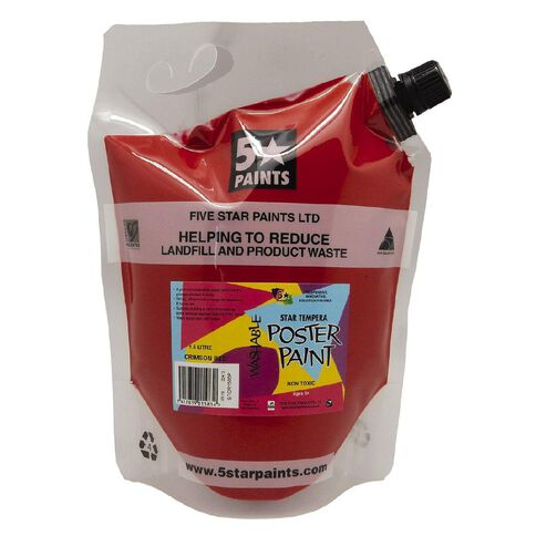 Fivestar Tempera Poster Paint Crimson Red 1.5 litre Pouch