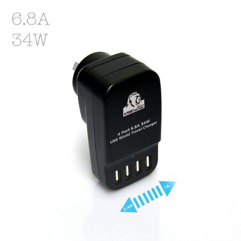 mbeat Mini Gorilla Power 34W 4 Port Usb Travel Charger Silver