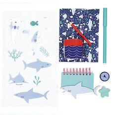 Kookie Sharks Stationery Set 8 Pieces