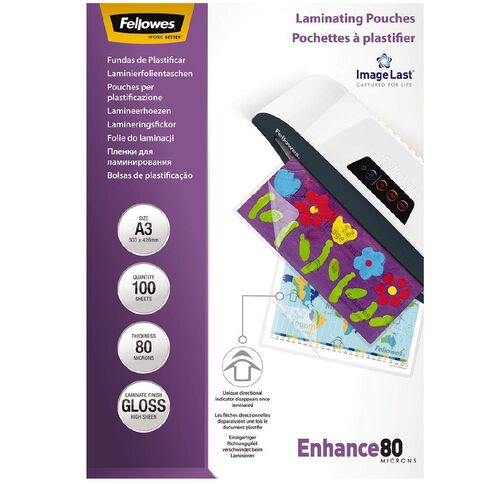 Fellowes Laminating Pouches A3 80 Micron 100 Pack