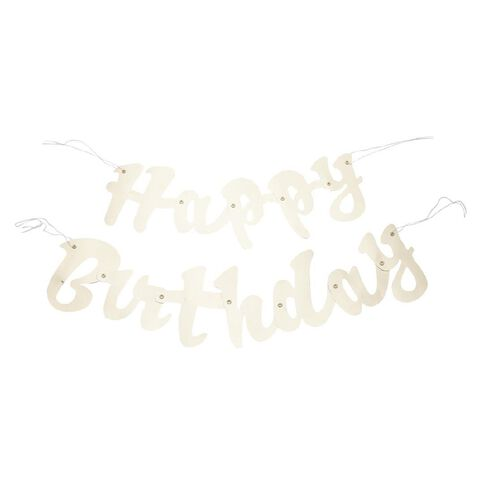 Unique Happy Birthday Foil Script Jointed Banner Gold 1.6m