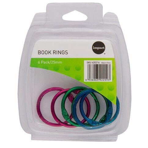 Impact Book Rings 25mm 6 Pack