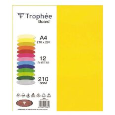 Trophee Board 210gsm 12 Pack Sunflower Yellow A4