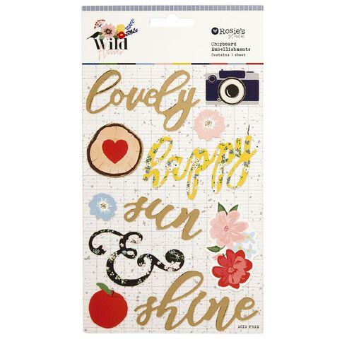 Rosie's Studio Wildflower Chipboard Stickers