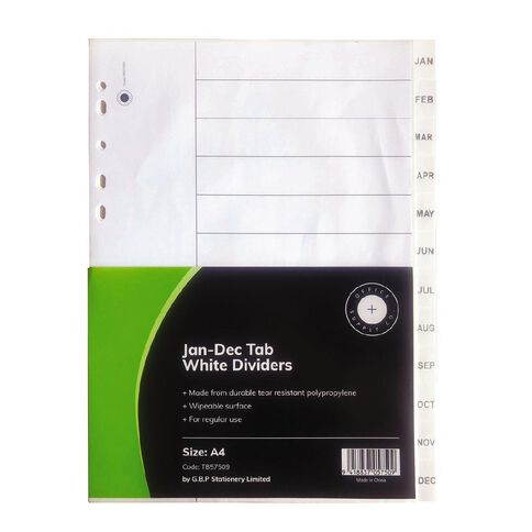 Office Supply Co Jan-Dec Tab White Polypropylene Dividers