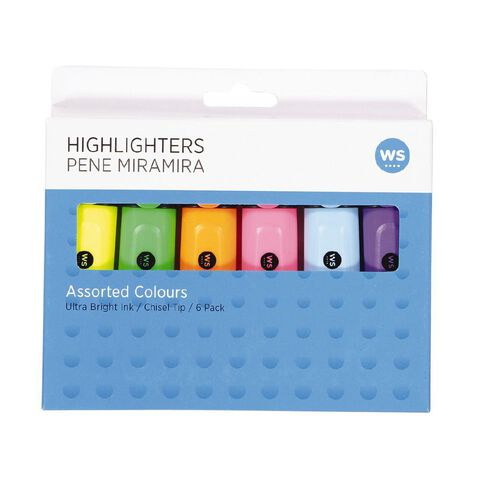 WS Highlighters 6 Pack Mixed Assortment 6 Pack