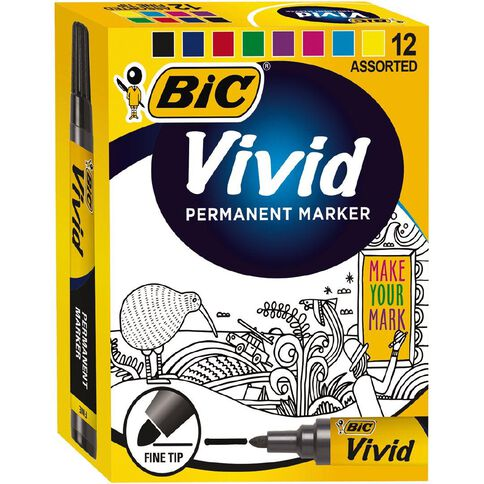 Bic Fine Vivid Marker 12 Pack Assorted