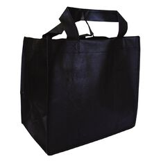 Black Reusable Non Woven Grocer Bag with Base 5 Pack