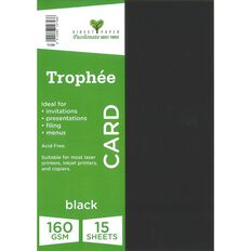 Trophee Card 160gsm 15 Pack Black A4
