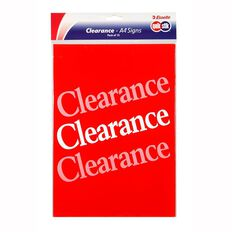 Quik Stik Labels Sign Clearance 10 Pack Red A4