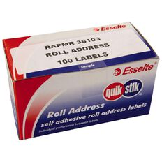 Quik Stik Labels Mr36103 36mm x 103mm 100 Pack White