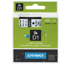 Dymo Label Tape D1 9mm Black/White