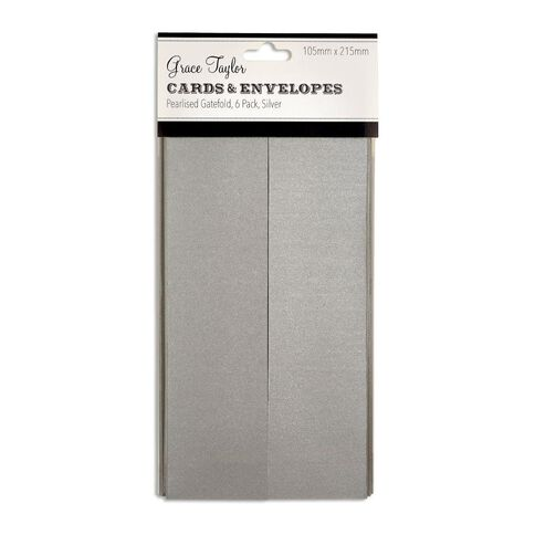 Grace Taylor Cards and Envelopes Gatefold 105 x 215 6 Pack Pearl Silver