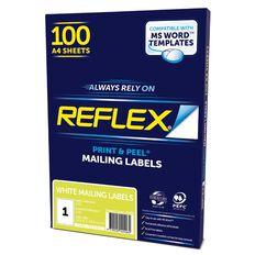 Reflex Mailing Labels 1 Per Sheet 100 Pack White A4