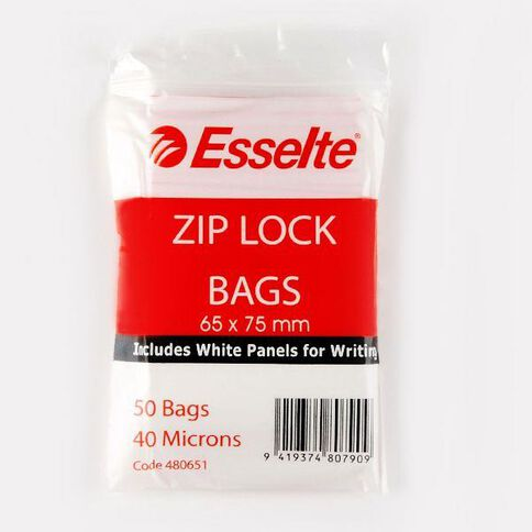 Esselte Zip Lock Bags 65mm x 75mm 50 Pack Clear