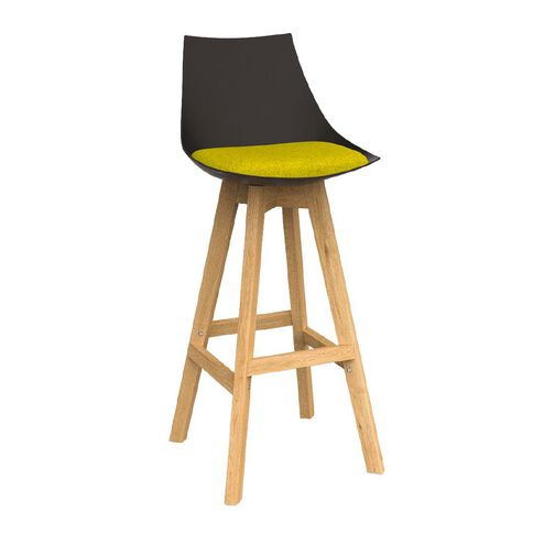 Luna Black Bumblebee Yellow Oak Base Barstool Yellow
