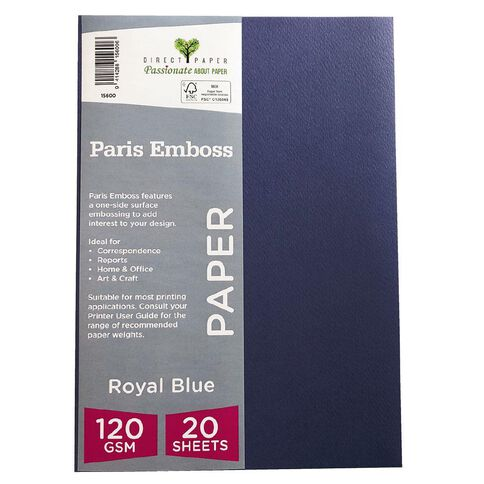Direct Paper Paris Emboss 120gsm A4 20 Pack Royal Blue