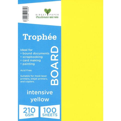 Trophee Board 210gsm 100 Pack Intensive Yellow A4