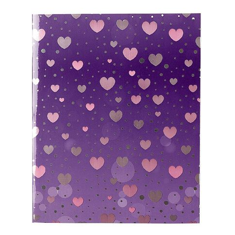 WS Book Cover Sparkle Hearts 45cm x 1m