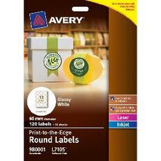 Avery Round Glossy Labels White 10 Pack 12 Per Sheet