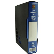 GBP Stationery Blue 100 Pocket Display Book With Black Case A4