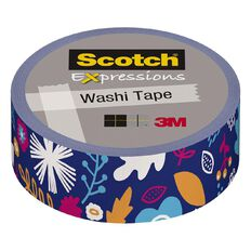 Scotch Washi Craft Tape 15mm x 10m Blue Mod Flower