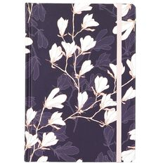 Uniti F&F Hardcover Embossed Notebook Navy With White Flowers A5