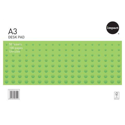 Impact Desk Pad 55gsm 50 Leaf White A3 White A3