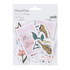 Uniti Oriental Floral Cardstock Die Cut Shapes 28 Pieces