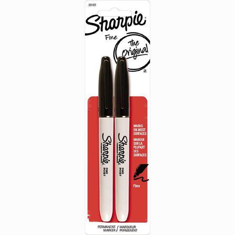 Sharpie Permanent Fine Marker Black 2 Pack