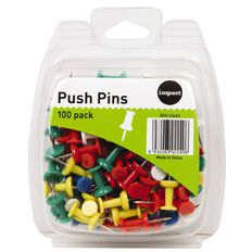 Impact Push Pins 100 Pack Assorted