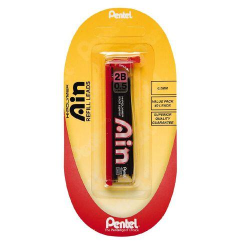 Pentel Ain Stein Pencil Leads 2B 0.5mm 40 Pack Black