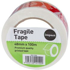 Impact Printed Tape Fragile 48mm x 100m Red/White