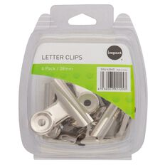 Impact Letter Clips 38mm 6 Pack Chrome
