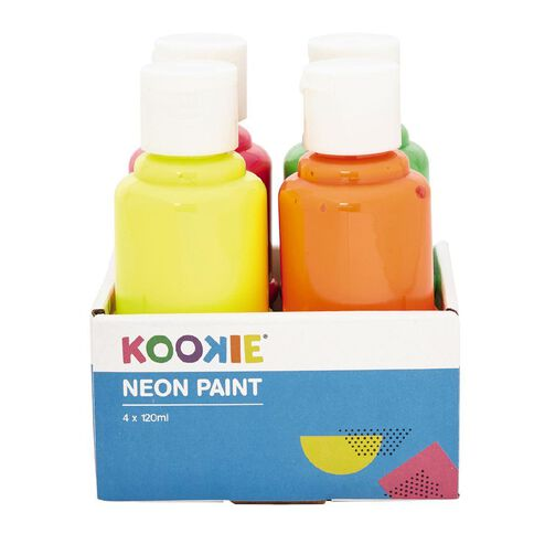 Kookie Acrylic Paint Neon 120ml 4 Pack