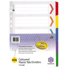 Marbig Dividers Board 5 Tab Re-Inforced Multi-Coloured A4