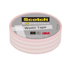 Scotch Washi Craft Tape 15mm x 10m Pastel Stripe Pink