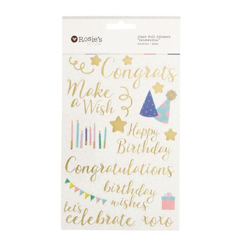 Rosie's Studio Clear Foil Stickers Celebration