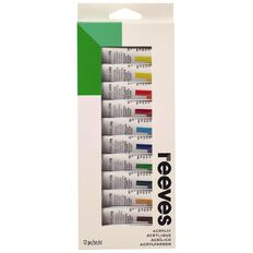 Reeves Acrylic Paint Set 10ml 12 Pack Multi-Coloured