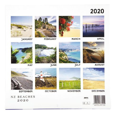 2020 Calendar New Zealand Beaches 290mm x 290mm