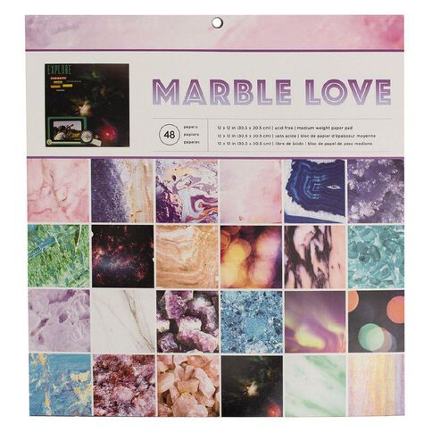 American Crafts Paper Pad Marble Love 12in x12in